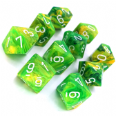 Dandelion & White Vortex D10 Ten Sided Dice Set